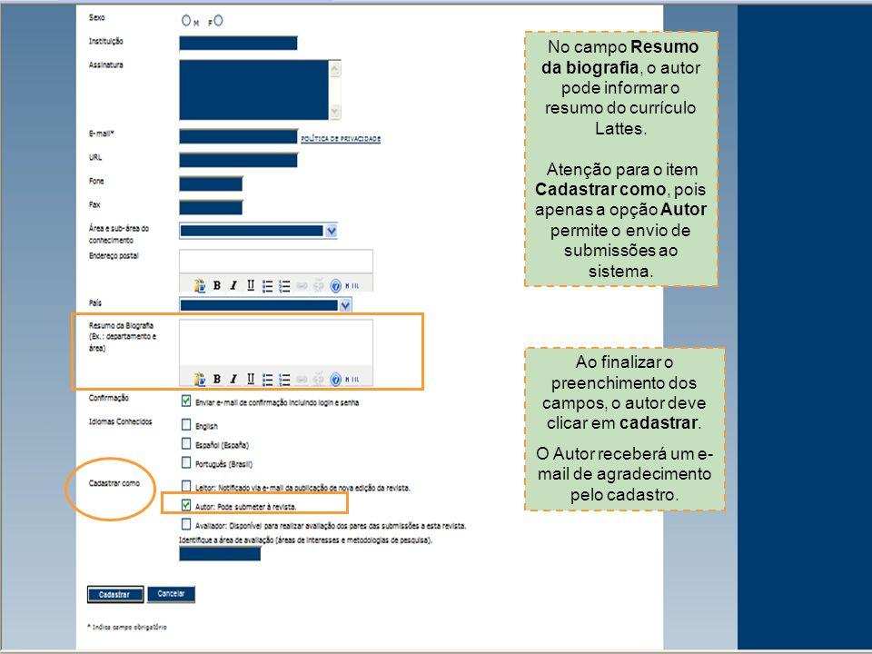 O autor deve clicar na função autor para ter acesso à área de submissões do sistema.