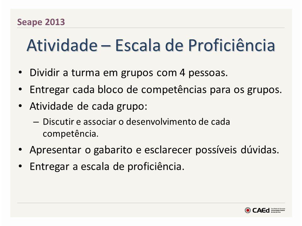Atividade – Escala de Proficiência Dividir a turma em grupos com 4 pessoas. Entregar cada bloco de competências para os grupos. Atividade de cada grup