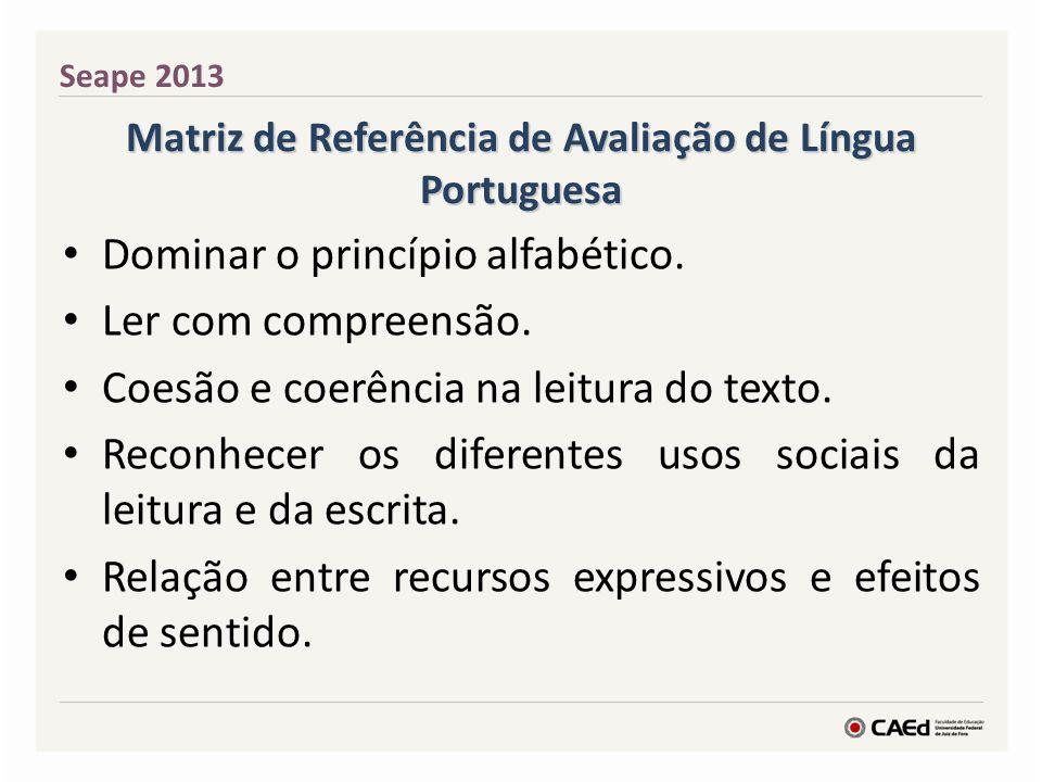 Matriz de Referência de Avaliação de Língua Portuguesa Dominar o princípio alfabético. Ler com compreensão. Coesão e coerência na leitura do texto. Re