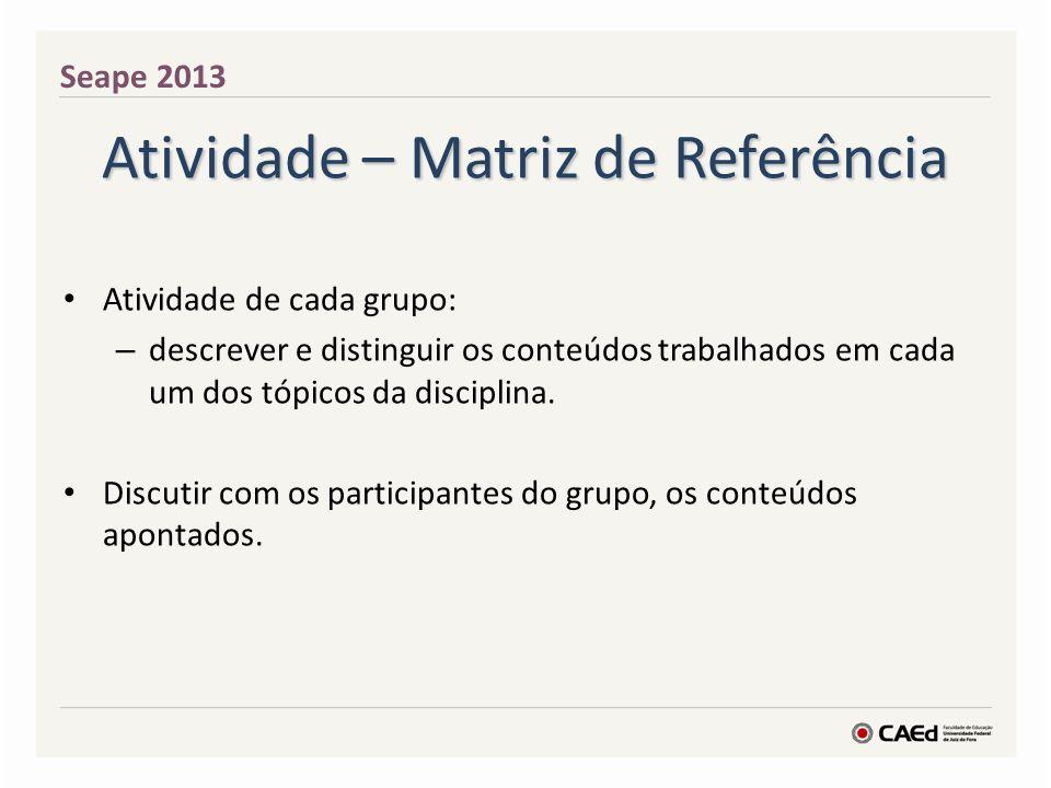Atividade – Matriz de Referência Atividade de cada grupo: – descrever e distinguir os conteúdos trabalhados em cada um dos tópicos da disciplina. Disc