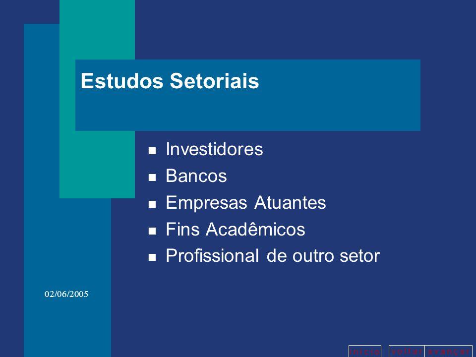 v o l t a ra v a n ç a r i n í c i o 02/06/2005 Estudos Setoriais n Investidores n Bancos n Empresas Atuantes n Fins Acadêmicos n Profissional de outr