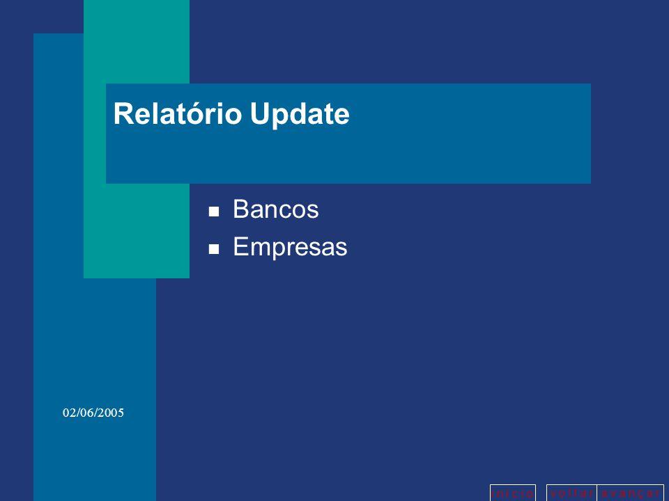 v o l t a ra v a n ç a r i n í c i o 02/06/2005 Relatório Update n Bancos n Empresas