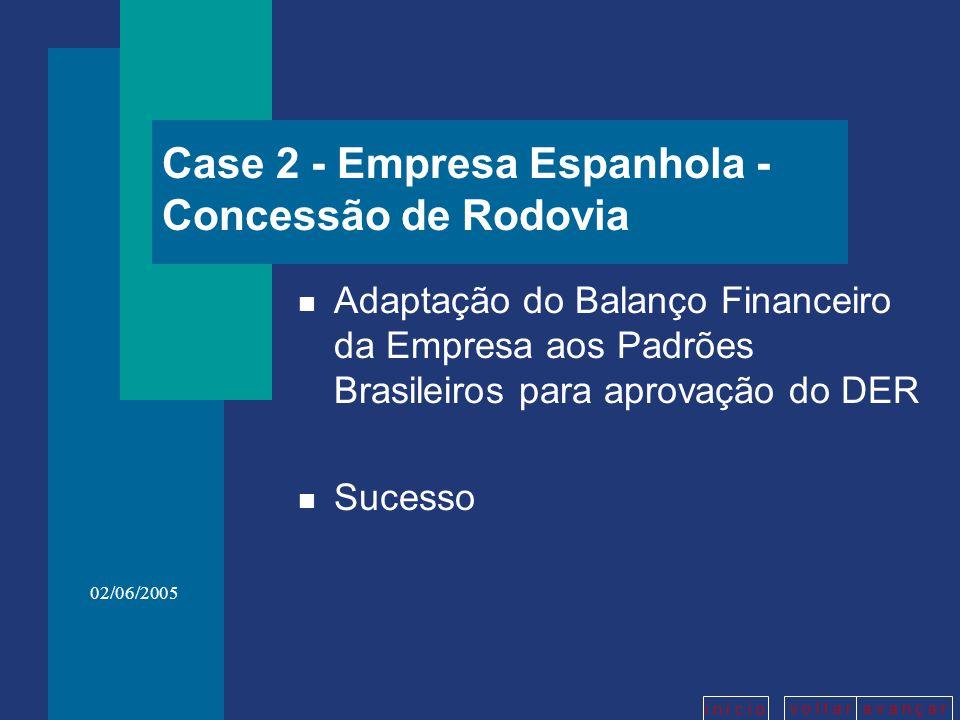 v o l t a ra v a n ç a r i n í c i o 02/06/2005 Case 2 - Empresa Espanhola - Concessão de Rodovia n Adaptação do Balanço Financeiro da Empresa aos Pad