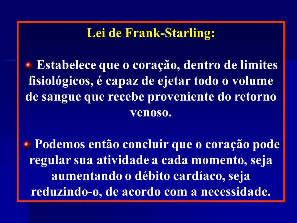 Lei de Frank-Starling: Estabelece que o coração, dentro de limites fisiológicos, é capaz de ejetar todo o volume de sangue que recebe proveniente do retorno venoso.