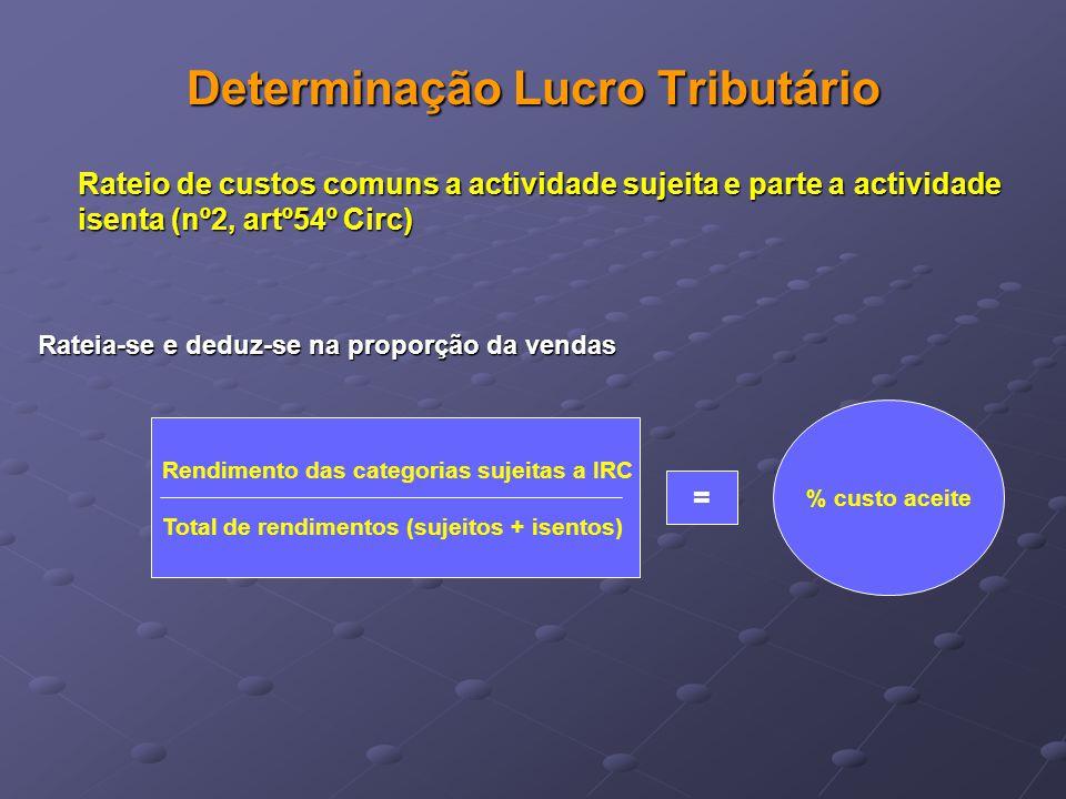 Determinação Lucro Tributário Rateio de custos comuns a actividade sujeita e parte a actividade isenta (nº2, artº54º Circ) Rateia-se e deduz-se na pro
