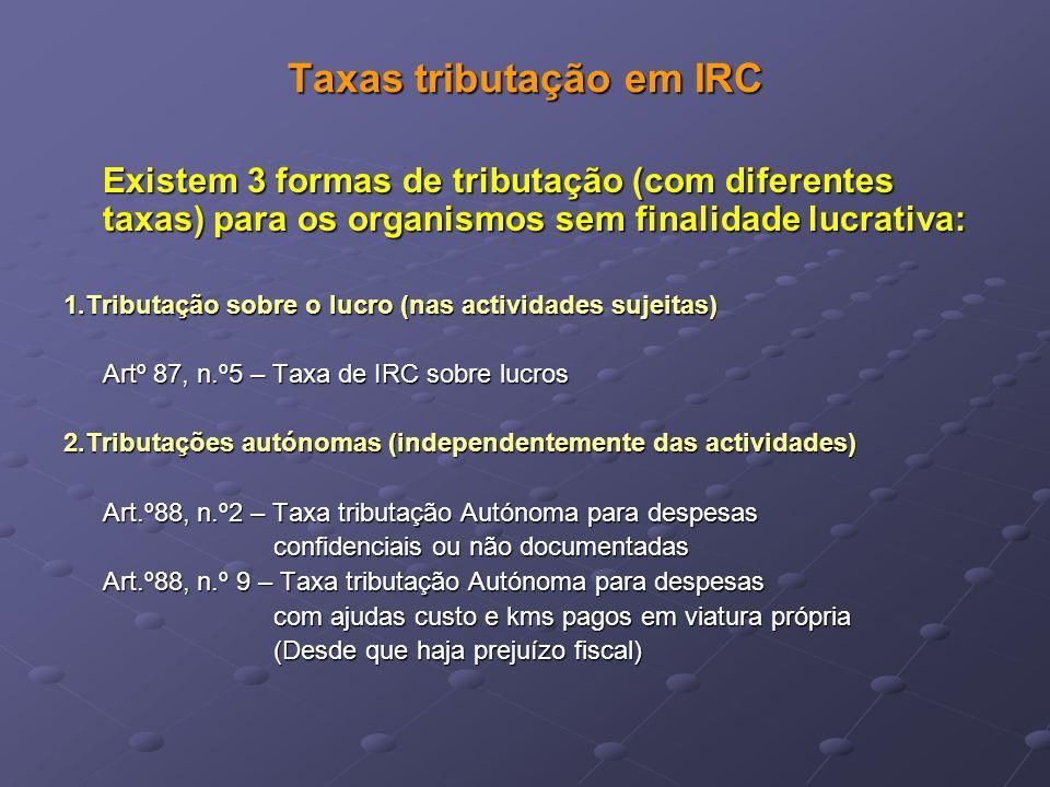 Taxas tributação em IRC Existem 3 formas de tributação (com diferentes taxas) para os organismos sem finalidade lucrativa: 1.Tributação sobre o lucro