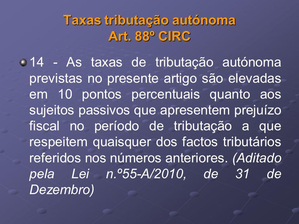 Taxas tributação autónoma Art. 88º CIRC 14 - As taxas de tributação autónoma previstas no presente artigo são elevadas em 10 pontos percentuais quanto