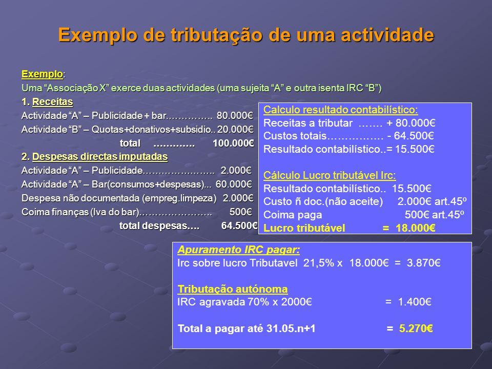 """Exemplo de tributação de uma actividade Exemplo: Uma """"Associação X"""" exerce duas actividades (uma sujeita """"A"""" e outra isenta IRC """"B"""") 1. Receitas Activ"""