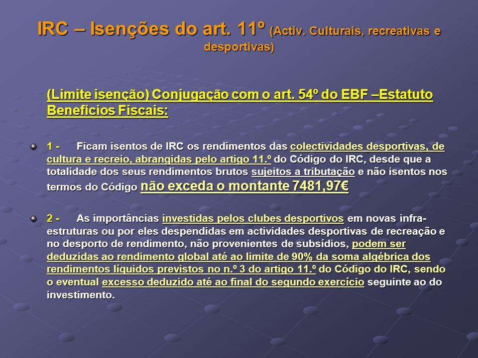 IRC – Isenções do art. 11º (Activ. Culturais, recreativas e desportivas) (Limite isenção) Conjugação com o art. 54º do EBF –Estatuto Benefícios Fiscai