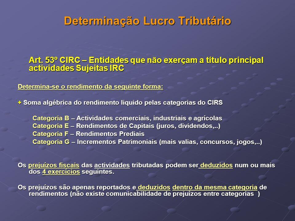 Determinação Lucro Tributário Art. 53º CIRC – Entidades que não exerçam a título principal actividades Sujeitas IRC Determina-se o rendimento da segui