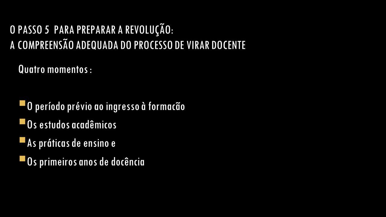 O PASSO 5 PARA PREPARAR A REVOLUÇÃO: A COMPREENSÃO ADEQUADA DO PROCESSO DE VIRAR DOCENTE Quatro momentos :  O período prévio ao ingresso à formacão 