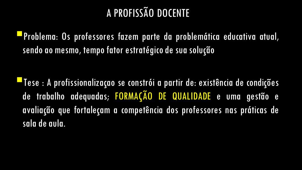 A PROFISSÃO DOCENTE  Problema: Os professores fazem parte da problemática educativa atual, sendo ao mesmo, tempo fator estratégico de sua solução  T