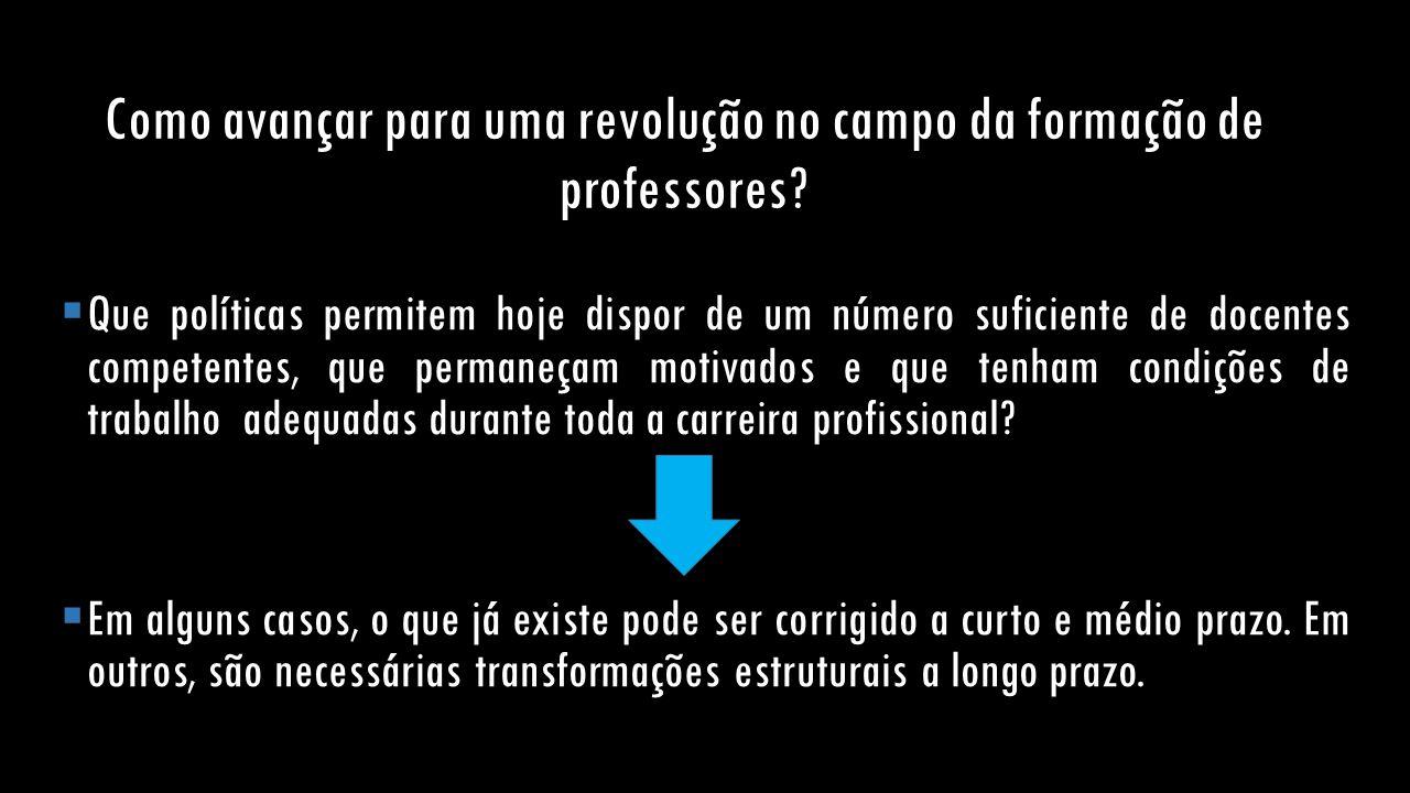 Como avançar para uma revolução no campo da formação de professores?  Que políticas permitem hoje dispor de um número suficiente de docentes competen