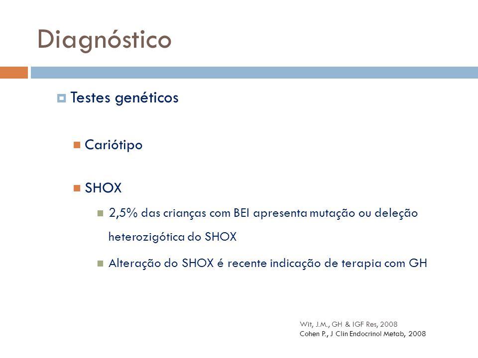  Testes genéticos Cariótipo SHOX 2,5% das crianças com BEI apresenta mutação ou deleção heterozigótica do SHOX Alteração do SHOX é recente indicação