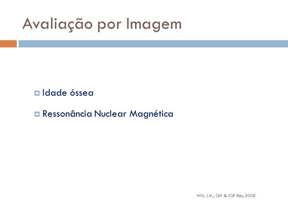  Idade óssea  Ressonância Nuclear Magnética Avaliação por Imagem Wit, J.M., GH & IGF Res, 2008