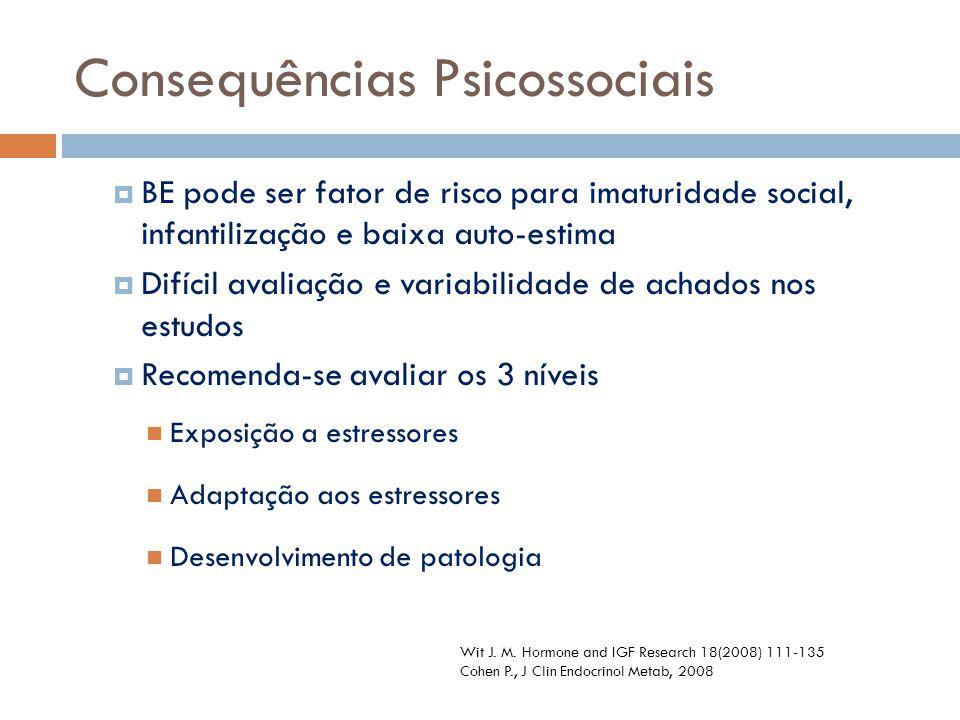 BE pode ser fator de risco para imaturidade social, infantilização e baixa auto-estima  Difícil avaliação e variabilidade de achados nos estudos 