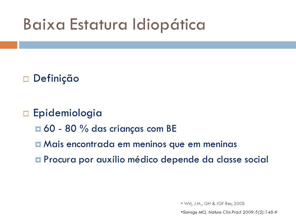 Baixa Estatura Idiopática  Definição  Epidemiologia  60 - 80 % das crianças com BE  Mais encontrada em meninos que em meninas  Procura por auxíli