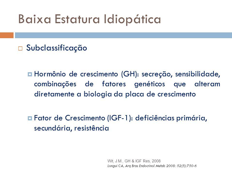 Baixa Estatura Idiopática  Subclassificação  Hormônio de crescimento (GH): secreção, sensibilidade, combinações de fatores genéticos que alteram dir