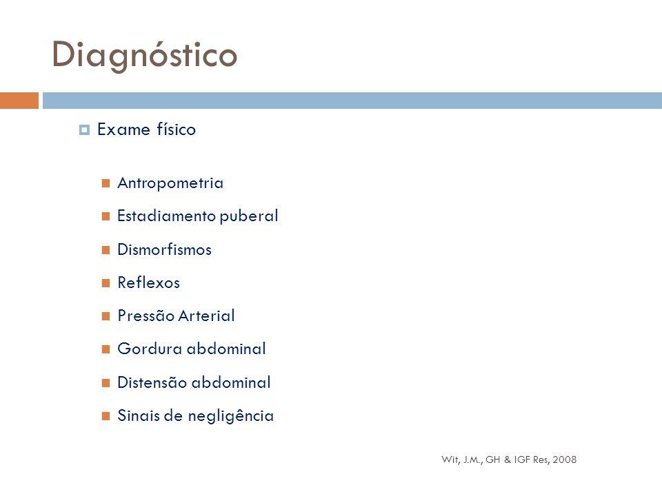  Exame físico Antropometria Estadiamento puberal Dismorfismos Reflexos Pressão Arterial Gordura abdominal Distensão abdominal Sinais de negligência D