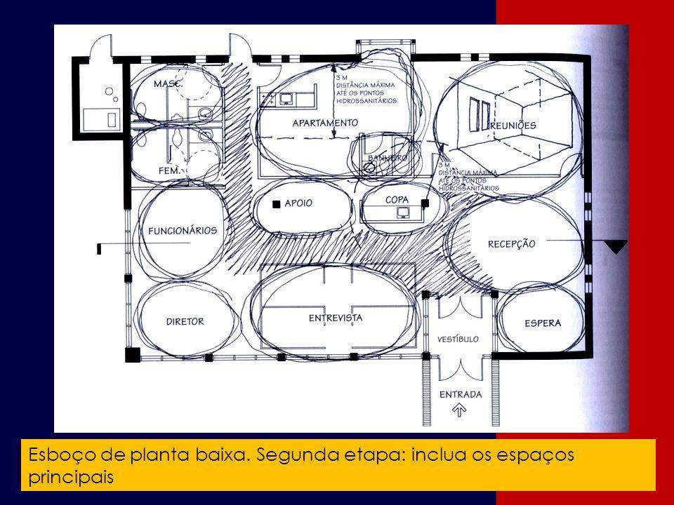 Esboço de planta baixa. Segunda etapa: inclua os espaços principais