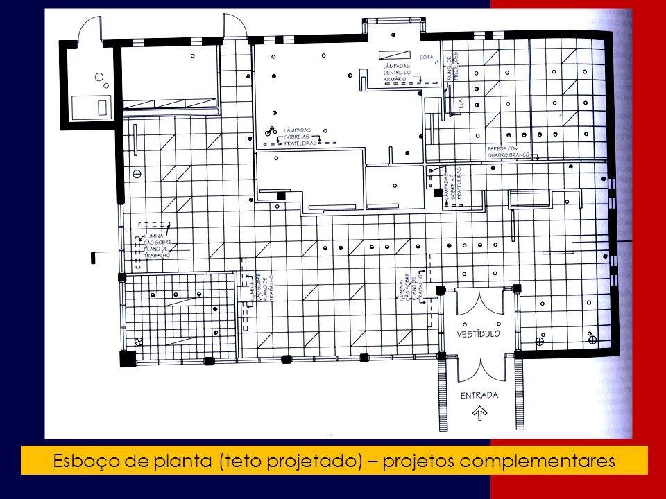 Esboço de planta (teto projetado) – projetos complementares