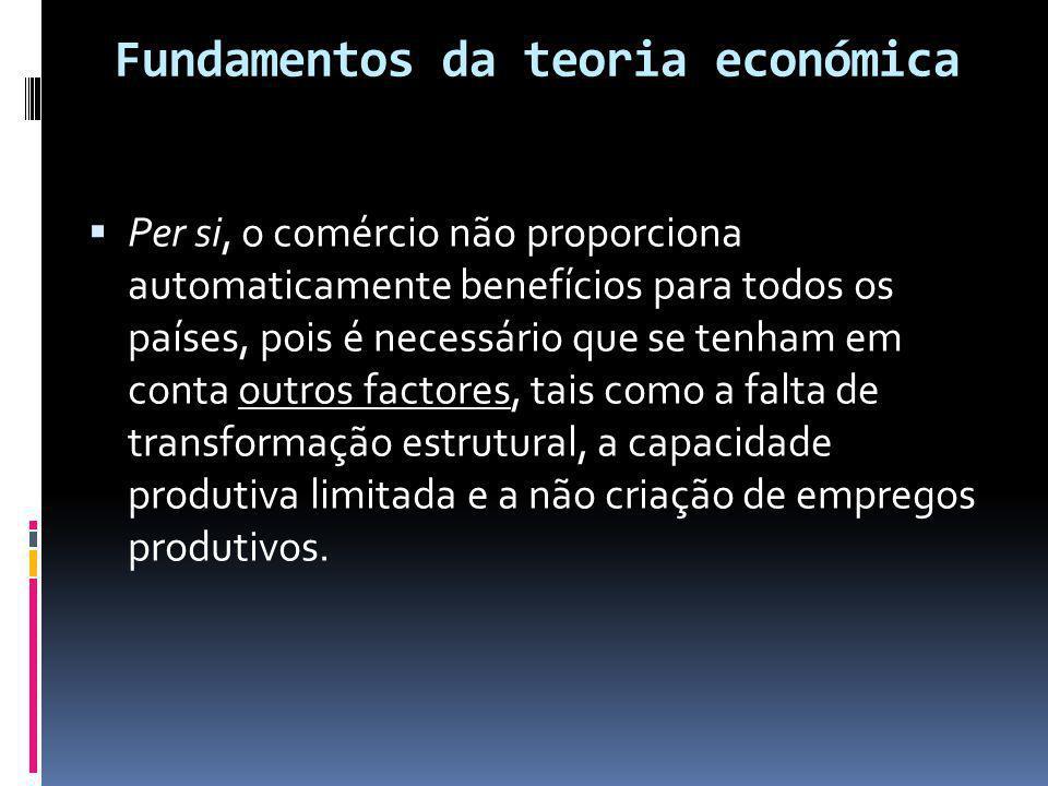Fundamentos da teoria económica  Per si, o comércio não proporciona automaticamente benefícios para todos os países, pois é necessário que se tenham em conta outros factores, tais como a falta de transformação estrutural, a capacidade produtiva limitada e a não criação de empregos produtivos.