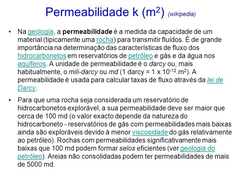 Permeabilidade k (m 2 ) (wikipedia) Na geologia, a permeabilidade é a medida da capacidade de um material (tipicamente uma rocha) para transmitir fluídos.
