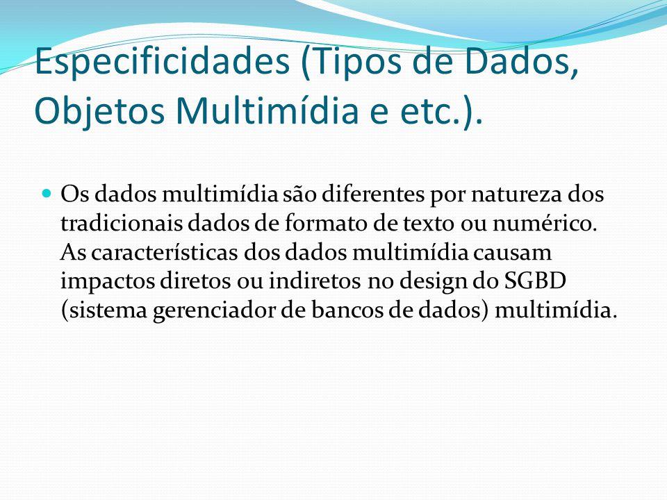 Especificidades (Tipos de Dados, Objetos Multimídia e etc.). Os dados multimídia são diferentes por natureza dos tradicionais dados de formato de text