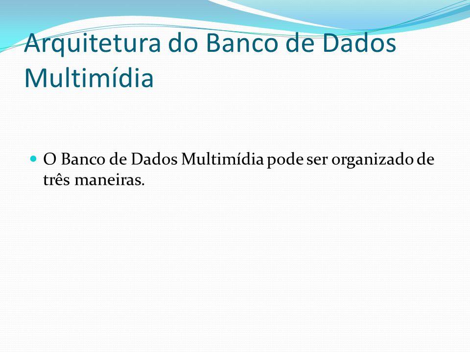 Arquitetura do Banco de Dados Multimídia O Banco de Dados Multimídia pode ser organizado de três maneiras.