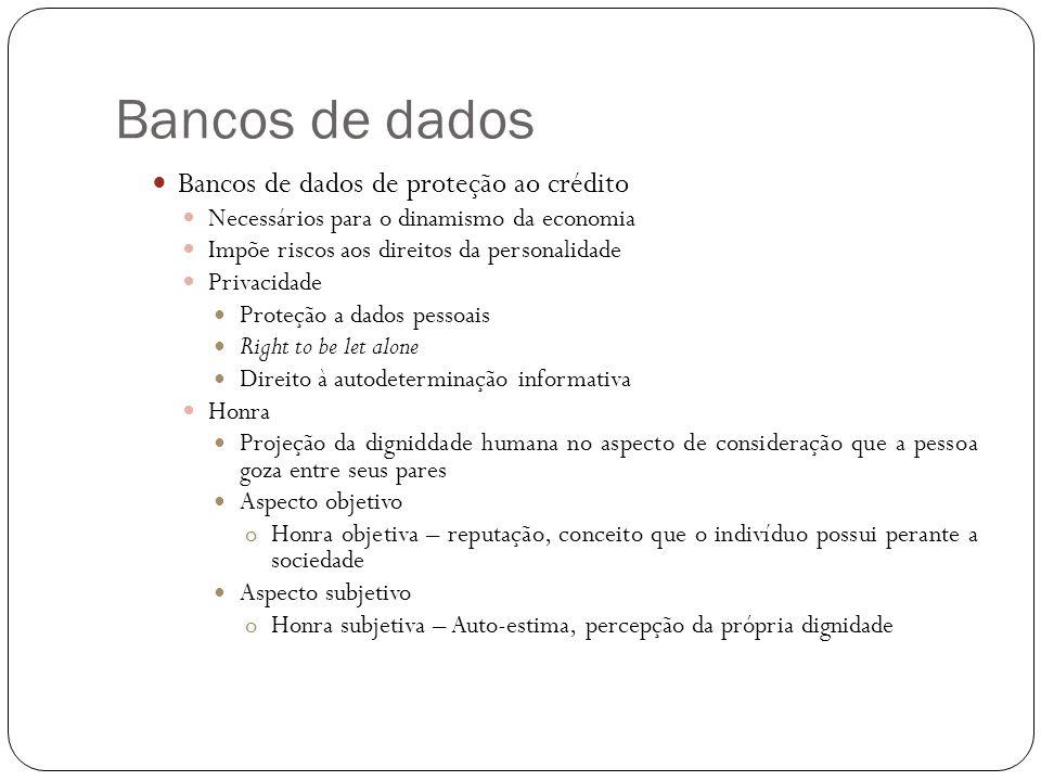 Bancos de dados Bancos de dados de proteção ao crédito Necessários para o dinamismo da economia Impõe riscos aos direitos da personalidade Privacidade