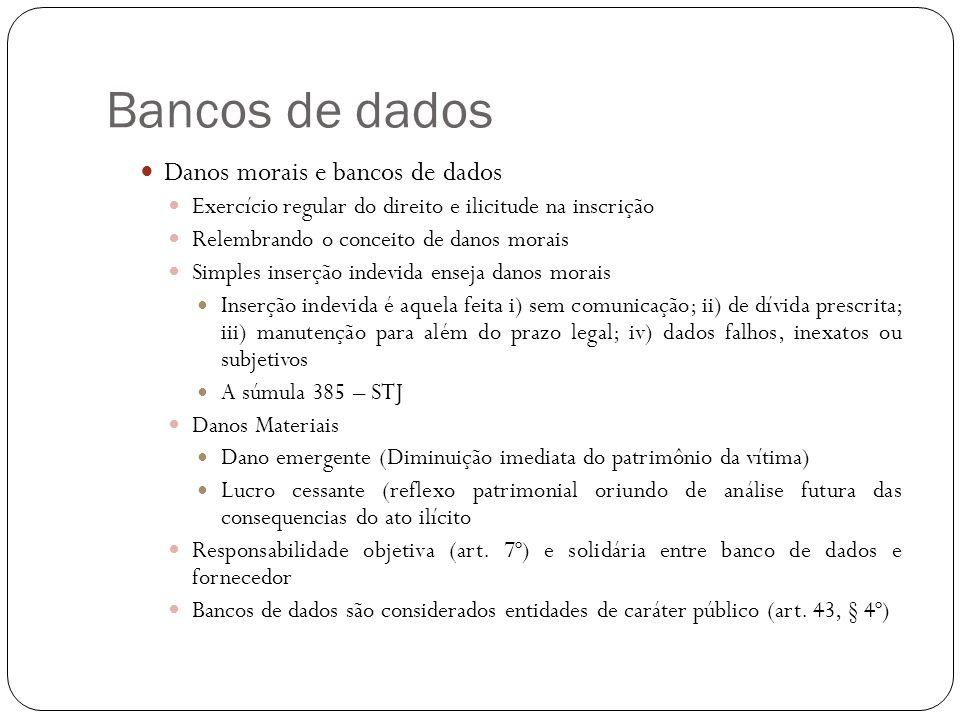 Bancos de dados Danos morais e bancos de dados Exercício regular do direito e ilicitude na inscrição Relembrando o conceito de danos morais Simples in