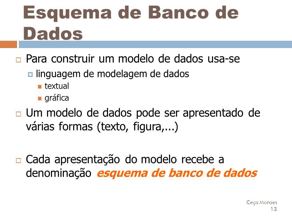 Ceça Moraes 13 Esquema de Banco de Dados  Para construir um modelo de dados usa-se  linguagem de modelagem de dados textual gráfica  Um modelo de d