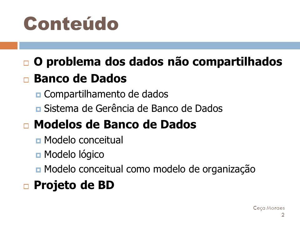 Ceça Moraes 2 Conteúdo  O problema dos dados não compartilhados  Banco de Dados  Compartilhamento de dados  Sistema de Gerência de Banco de Dados