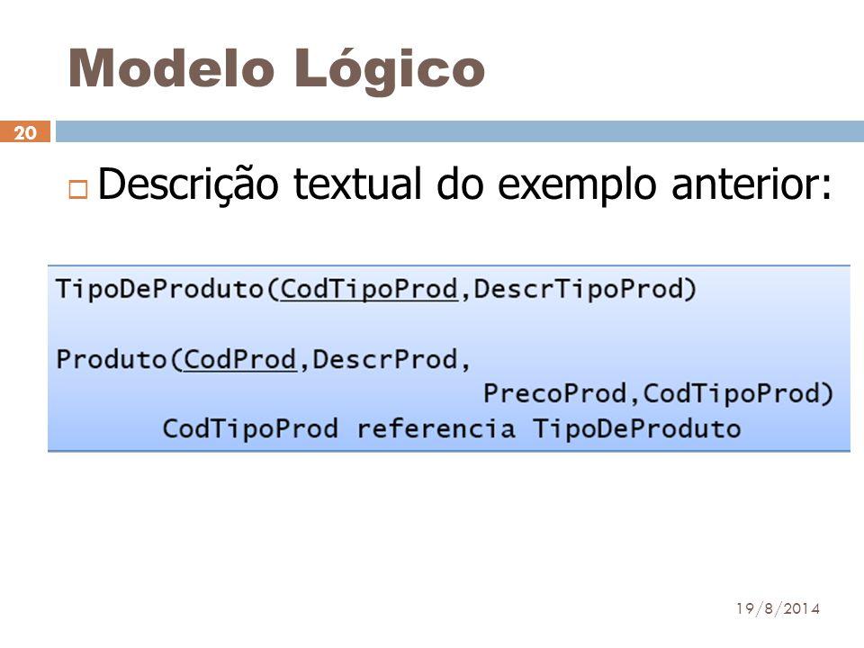 19/8/2014 20  Descrição textual do exemplo anterior: