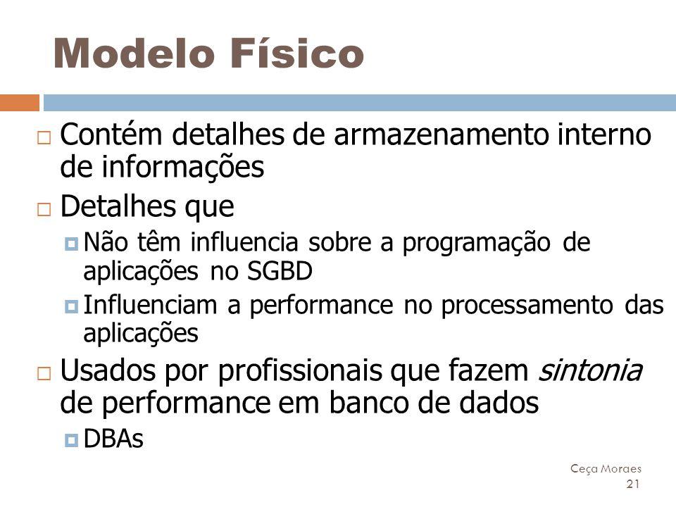Ceça Moraes 21 Modelo Físico  Contém detalhes de armazenamento interno de informações  Detalhes que  Não têm influencia sobre a programação de apli