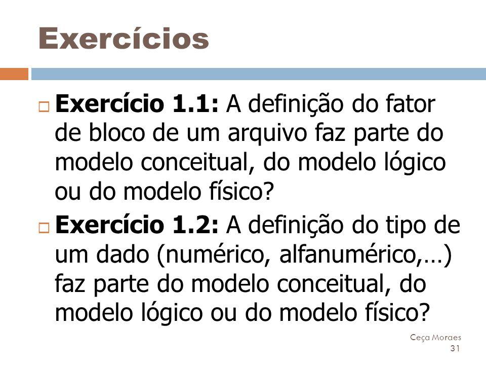 Ceça Moraes 31 Exercícios  Exercício 1.1: A definição do fator de bloco de um arquivo faz parte do modelo conceitual, do modelo lógico ou do modelo f