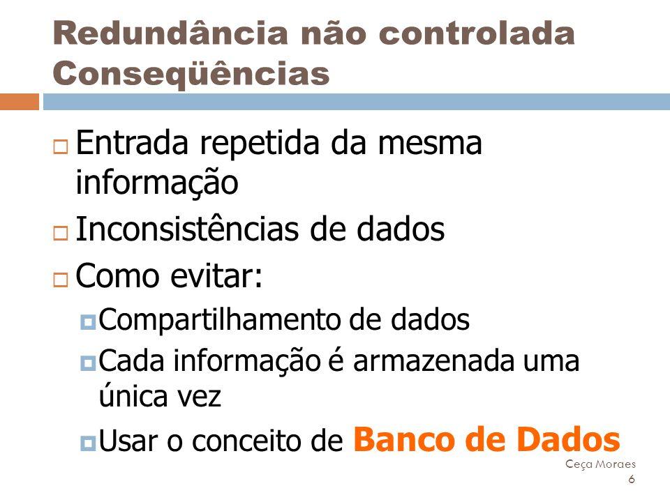 Ceça Moraes 6 Redundância não controlada Conseqüências  Entrada repetida da mesma informação  Inconsistências de dados  Como evitar:  Compartilham