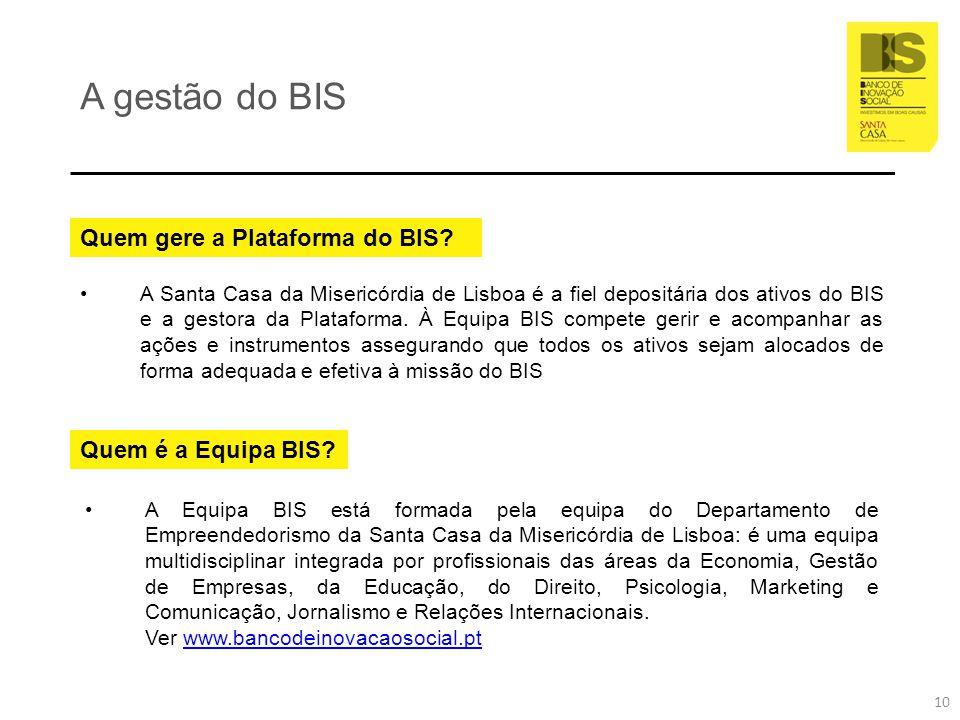A gestão do BIS Quem gere a Plataforma do BIS? A Santa Casa da Misericórdia de Lisboa é a fiel depositária dos ativos do BIS e a gestora da Plataforma