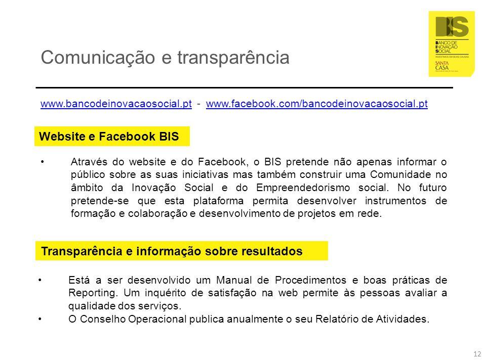 Comunicação e transparência Website e Facebook BIS Através do website e do Facebook, o BIS pretende não apenas informar o público sobre as suas inicia
