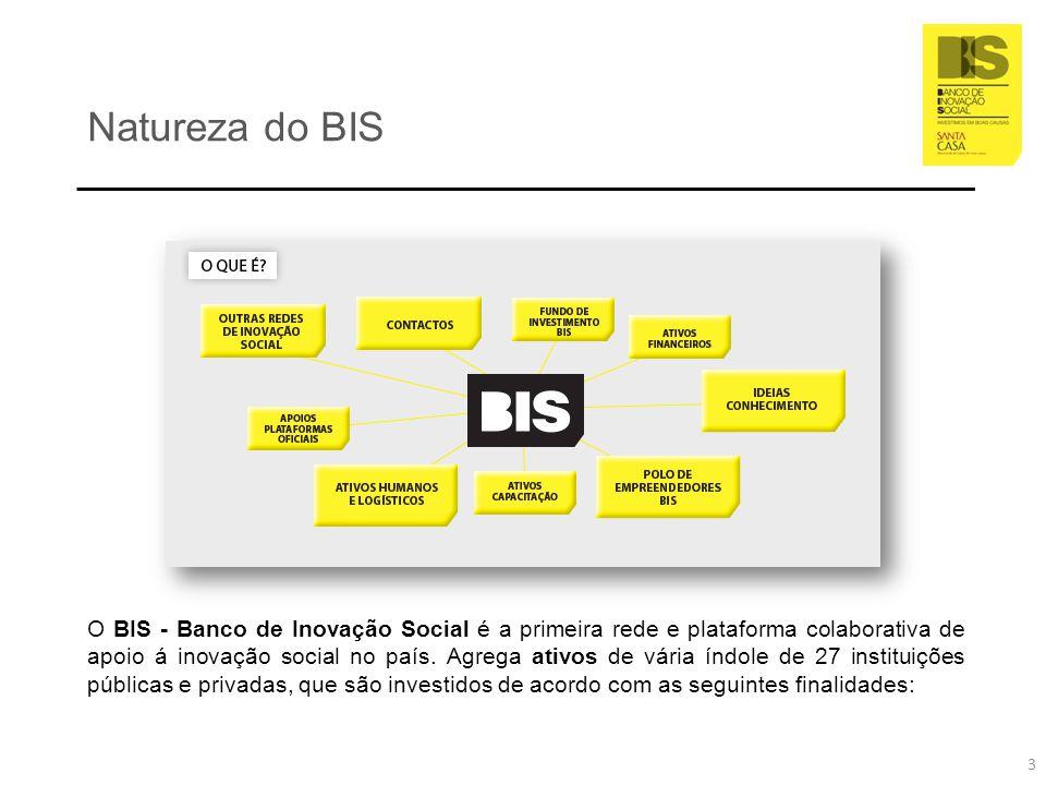 Eco-sistema e dinâmica de inovação social BIS Centro de Experimentação e Inovação Social Programa de Apoio a Empresas Sociais Redes internacionais de Inovação Social Cultura, Educação e Cidadania Fundo de Investimento Social Programa de Experimentação e Inovação Social Plataformas Operacionais do BIS no território Comunidade Empresarial BIS 4