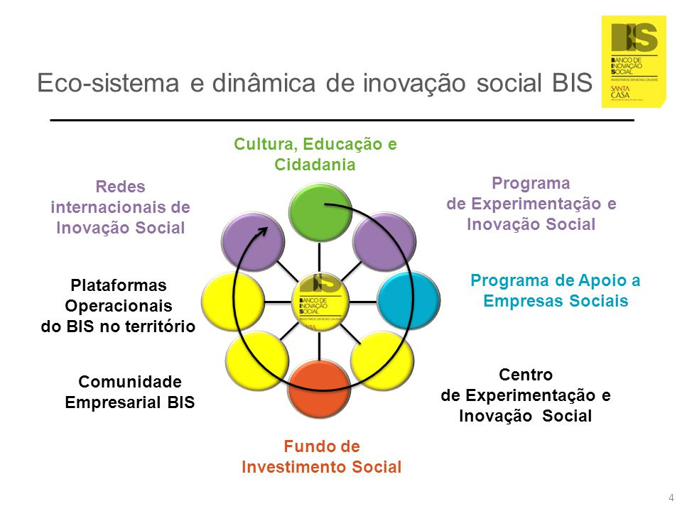 Missão do BIS Promover a inovação de impacto social Promover a criação de empresas sociais Participar nos programas e redes de inovação social da União Europeia e internacionais Promover uma cultura de inovação social Promover a experimentação social de base científica e aplicação prática Criar mecanismos financeiros para assegurar a sustentabilidade de projetos de impacto e valor social Criar uma dinâmica na sociedade civil com apelo ao envolvimento nas suas iniciativas, por intermédio, designadamente, do voluntariado de competências.
