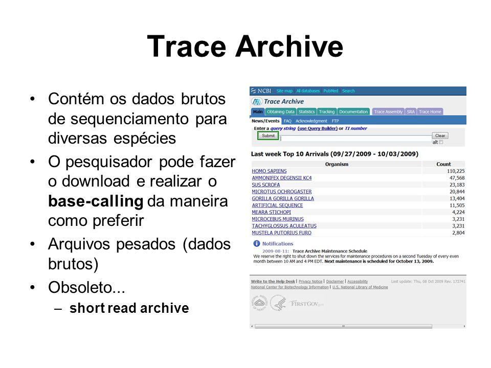 Trace Archive Contém os dados brutos de sequenciamento para diversas espécies O pesquisador pode fazer o download e realizar o base-calling da maneira