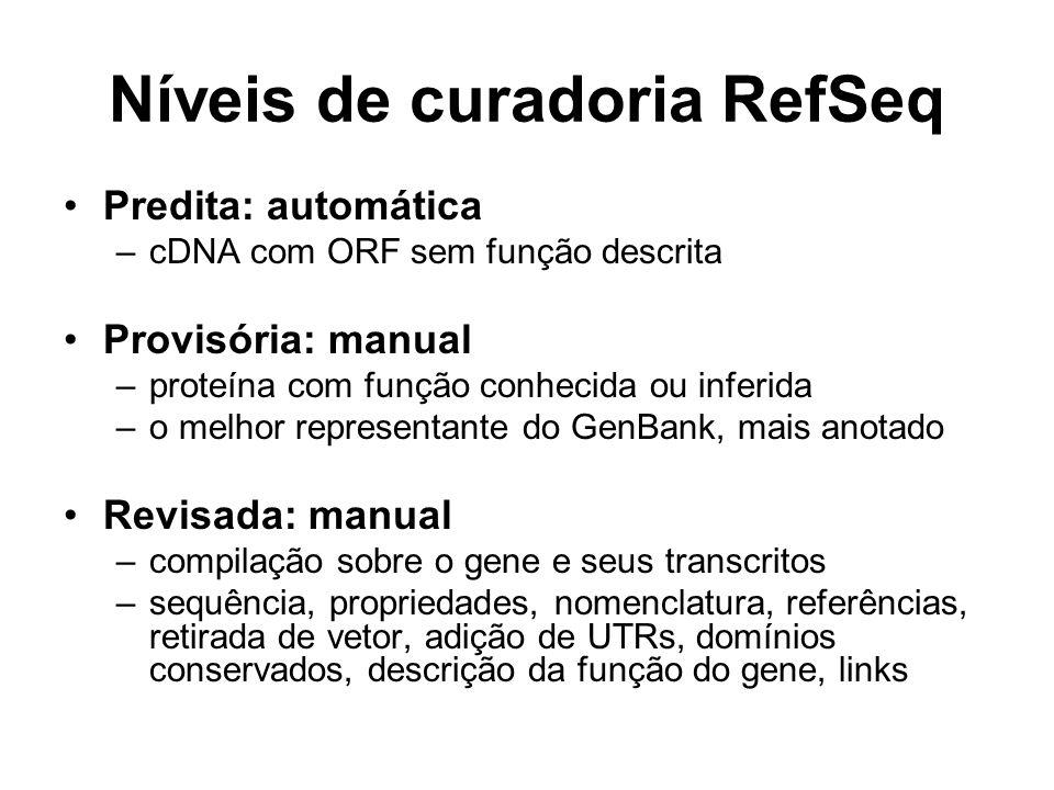 Níveis de curadoria RefSeq Predita: automática –cDNA com ORF sem função descrita Provisória: manual –proteína com função conhecida ou inferida –o melh