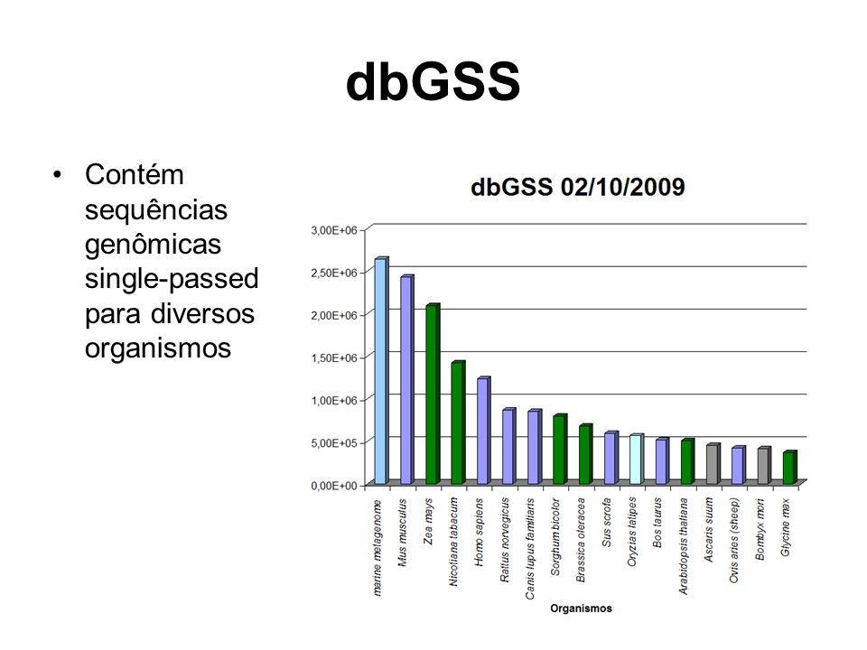 dbGSS Contém sequências genômicas single-passed para diversos organismos