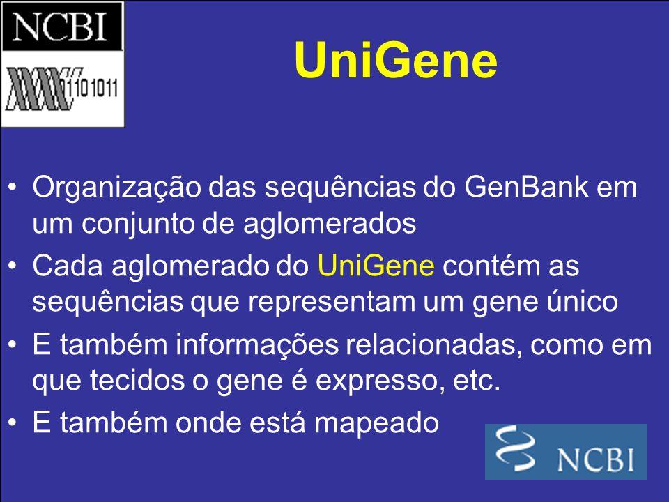 Organização das sequências do GenBank em um conjunto de aglomerados Cada aglomerado do UniGene contém as sequências que representam um gene único E ta