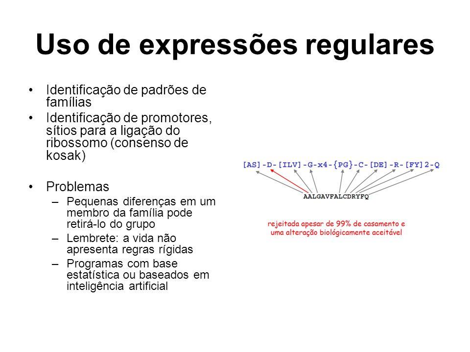 Uso de expressões regulares Identificação de padrões de famílias Identificação de promotores, sítios para a ligação do ribossomo (consenso de kosak) P