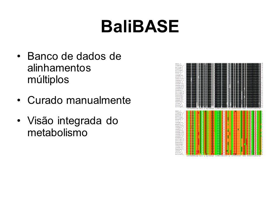 BaliBASE Banco de dados de alinhamentos múltiplos Curado manualmente Visão integrada do metabolismo