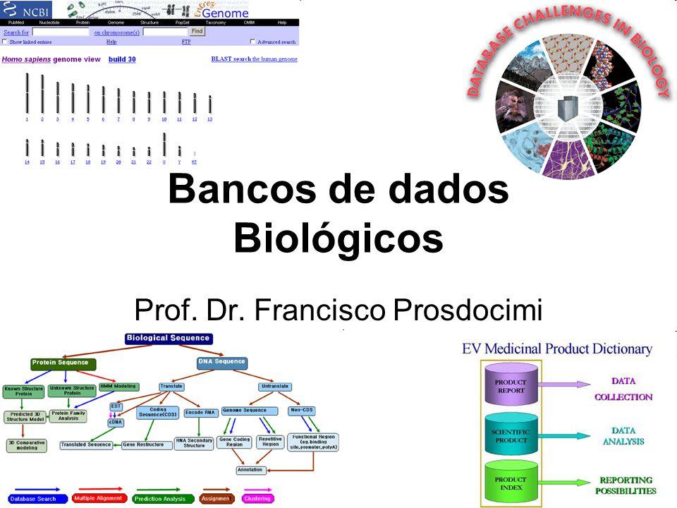 Bancos de dados Servem para organizar a informação biológica e disponibilizá-la de maneira simples aos pesquisadores Bancos mais comuns Sequência, estrutura, protein- protein interaction, domínios, assinaturas, famílias gênicas, evolutivos, paper-específicos