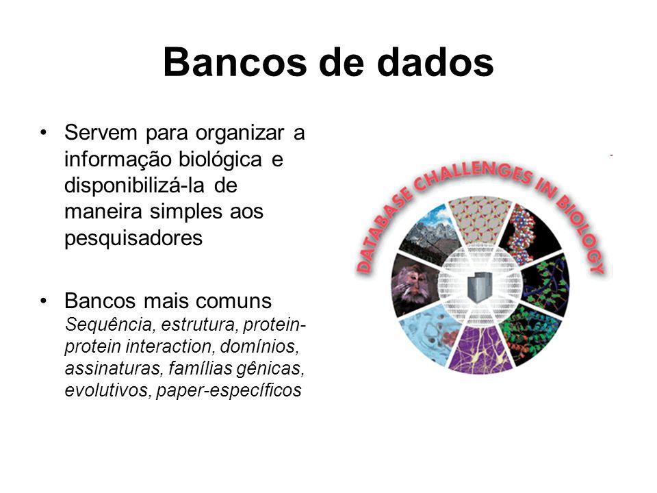 Bancos de dados Servem para organizar a informação biológica e disponibilizá-la de maneira simples aos pesquisadores Bancos mais comuns Sequência, est