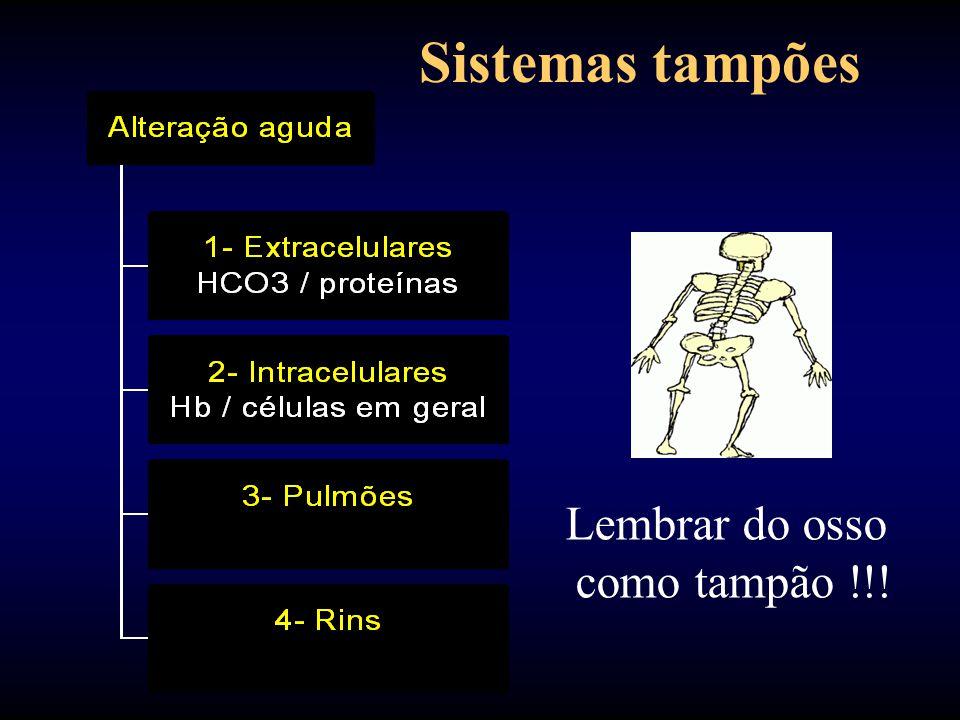 Sistemas tampões Lembrar do osso como tampão !!!